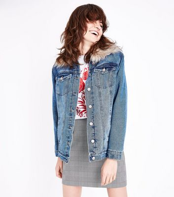 Blue Faux Fur Collar Denim Jacket