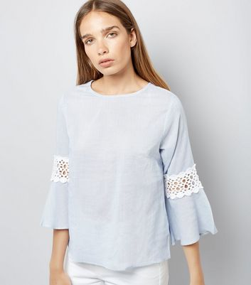 Blue Stripe Crochet Trim Bell Sleeve Top