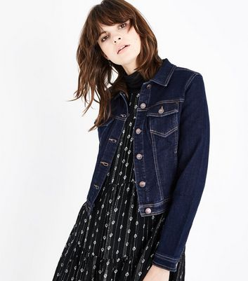 Dark Blue Contrast Stitch Denim Jacket