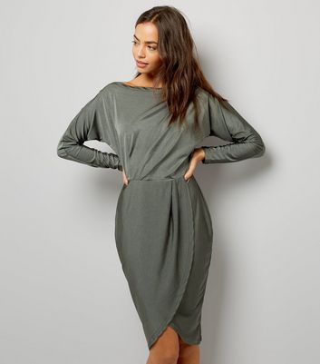 AX Paris Khaki Wrap Skirt Dress