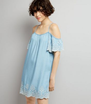 Blue Lace Embroidered Hem Cold Shoulder Dress