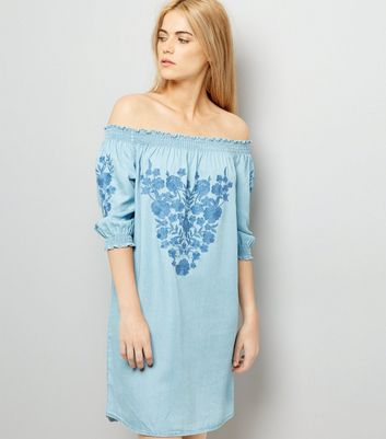 Blue Embroidered Bardot Neck Dress