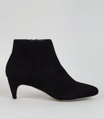 Black Suedette Low Pointed Heeled Boots
