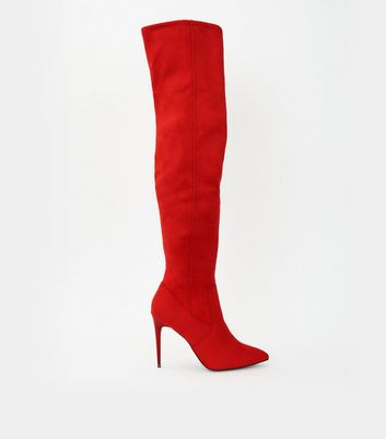 Red Suedette Stiletto Over The Knee Boots