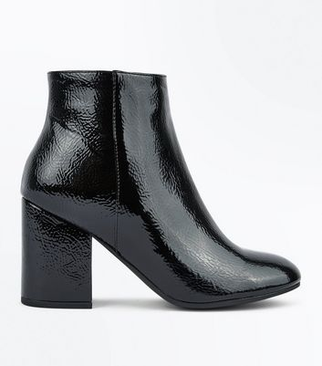 Black Patent Block Heel Ankle Boots