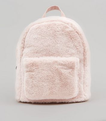 Pale Pink Faux Fur Mini Backpack