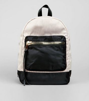 Black Colour Block Padded Backpack
