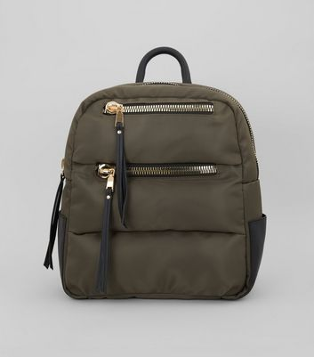 Khaki Quilted Chunky Zip Backpack