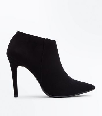 Black Suedette Stiletto Heel Pointed Shoe Boots