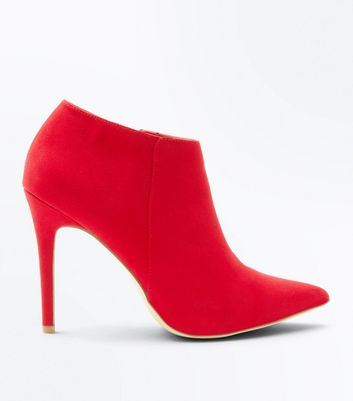 Red Suedette Stiletto Heel Pointed Shoe Boots