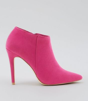Pink Suedette Stiletto Heel Pointed Shoe Boots