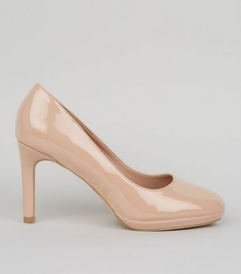 Nude Comfort Patent Platform Court Shoes | New Look