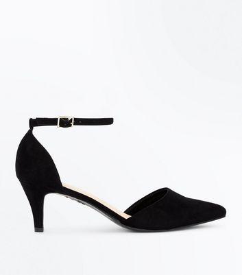 Black Comfort Suedette Kitten Heel Courts