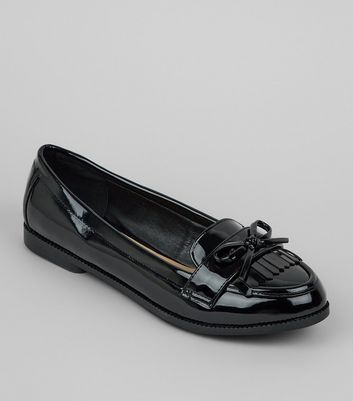 Wide Fit Black Patent Bow Loafers