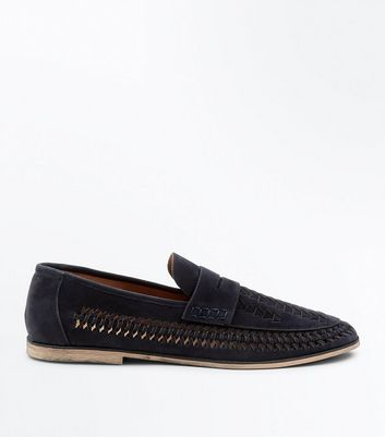Navy Suedette Woven Side Loafers