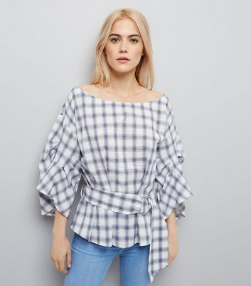 White Check Gathered Sleeve Belted Top
