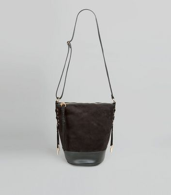 Black Suedette Lace Up Side Bucket Bag