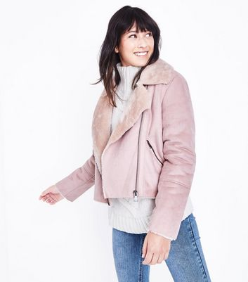 Blue Vanilla Pink Faux Shearling Cropped Jacket