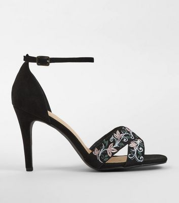 Wide Fit Black Comfort Embroidered Heeled Sandals