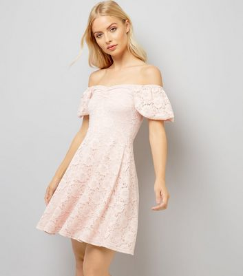 Pink Lace Bardot Neck Skater Dress