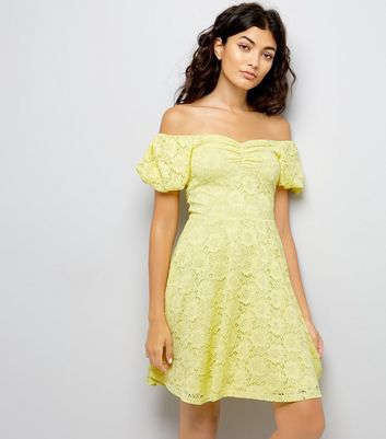 Yellow Lace Bardot Neck Skater Dress