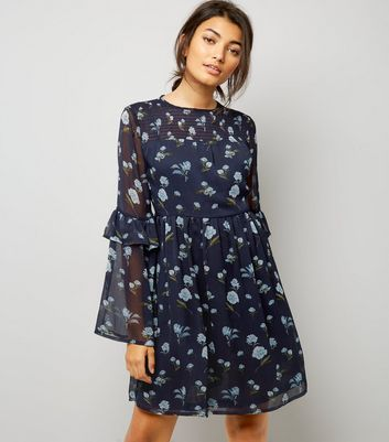 Blue Floral Print Frill Sleeve Smock Dress