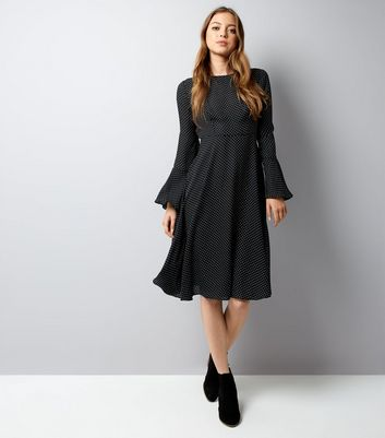 Black Polka Dot Bell Sleeve Midi Dress