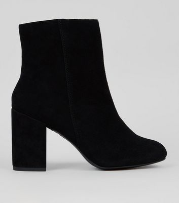 Black Suede Block Heeled Boots