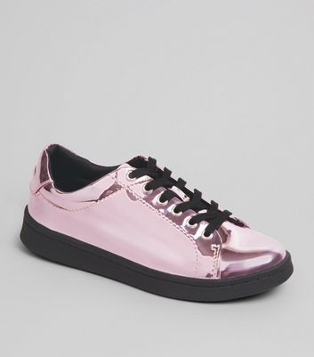 Teens Pink Metallic Lace Up Trainers