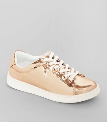 Teens Rose Gold Metallic Lace Up Trainers