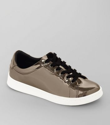 Teens Pewter Metallic Lace Up Trainers