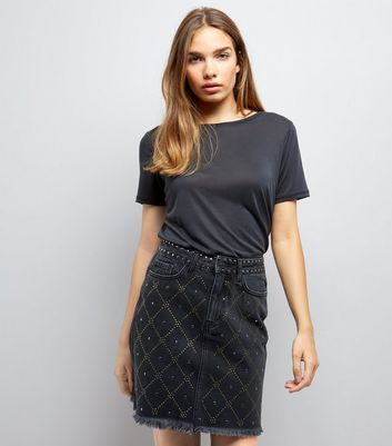 Black Diamond Studded Denim Skirt