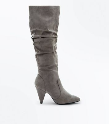 Grey Suedette Slouch Knee High Boots