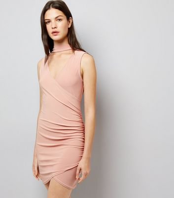 Cameo Rose Pink Wrap Front Choker Neck Dress