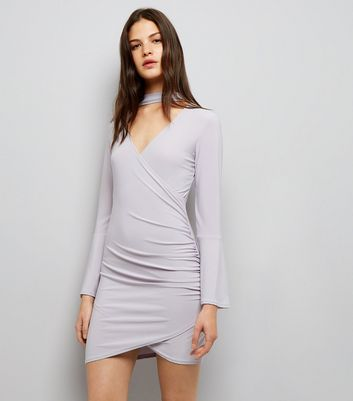 Cameo Rose Grey Flared Sleeve Choker Neck Dress
