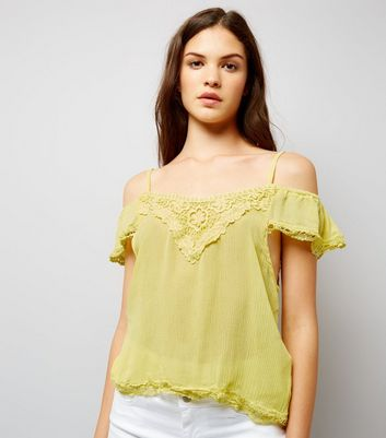 Cameo Rose Yellow Cold Shoulder Top