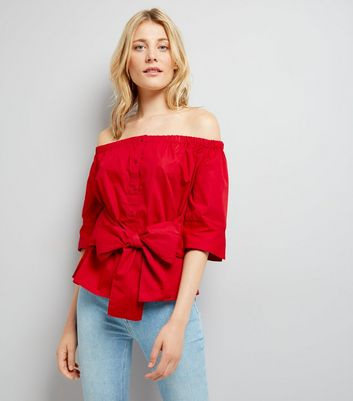 Influence Red Tie Front Bardot Neck Shirt