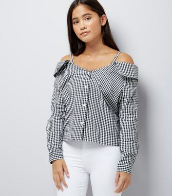 Teens Black Gingham Cold Shoulder Shirt