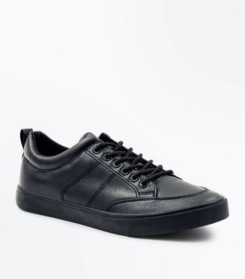 Black Stitch Detail Lace Up Trainers