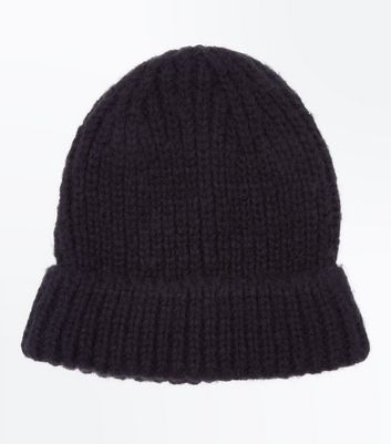 Black Brushed Knit Beanie Hat