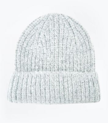 Grey Brushed Knit Beanie Hat