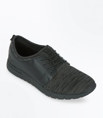 Black Textured Trainers