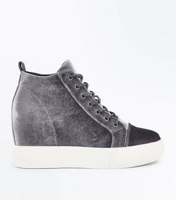 Grey Velvet Wedge Trainers