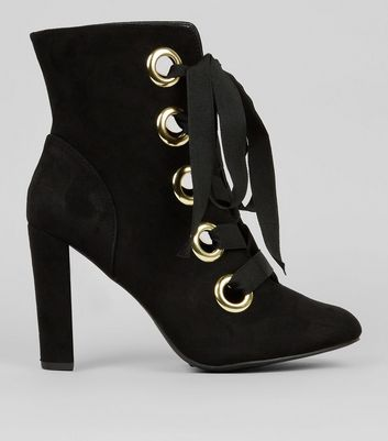 Wide Fit Black Suedette Eyelet Lace Up Heeled Boots