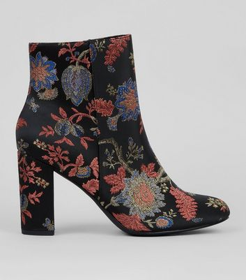 Wide Fit Black Floral Brocade Block Heeled Boots