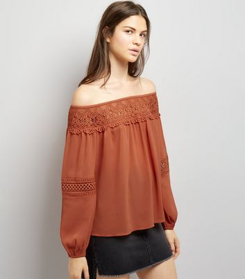 Dark Orange Crochet Trim Bardot Top