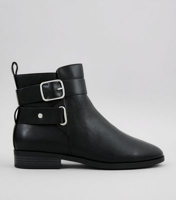 Wide Fit Black Buckle Strap Boots