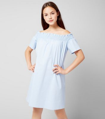 Teens Pale Blue Bardot Neck Dress