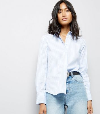 Blue Stripe Cotton Mix Shirt