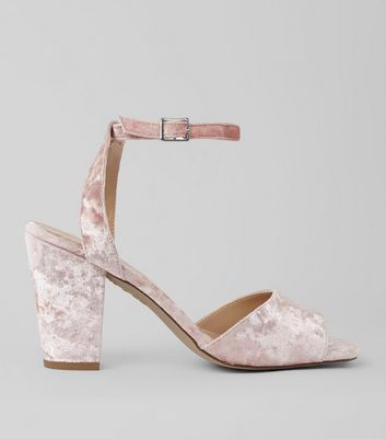 Nude Velvet Block Heel Sandals